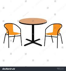 Wooden Table And Chairs Outdoor Vector Illustration Wooden Outdoor Table Two Stock Vector