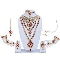 wedding jewellery lucky jewellery maroon alloy bridal wedding jewellery set at