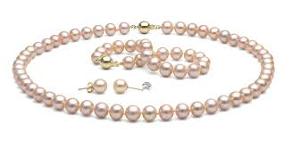 necklace pearl pink images Pink peach freshwater pearl jewelry set 8 5 9 0mm jpg