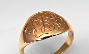 Monogram Gold Ring Hand Engraved Monogram New Designs
