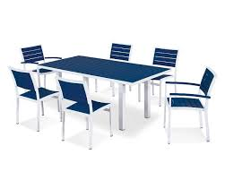 White Patio Dining Table And Chairs Patio 7 Piece Dining Set Polywood Dining Set Allbackyardfun
