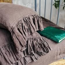 chocolate brown linen sheet set with ruffle len ok