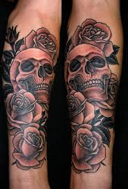 roses and grey skull tattoomagz