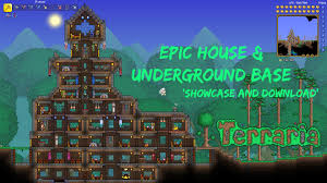 Terraria Map Download Terraria Pc Epic Starter House And Underground Bases Showcase