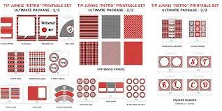 printable birthday decorations free retro red black white party decorations 16 free printables by