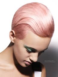 short pink haircut with masculine and feminine elements
