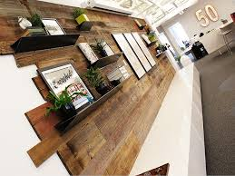 Interior Design Philadelphia Reclaimed Wood Feature Wall And Custom Branded Lightbox Interiors