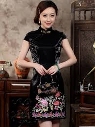 Vintage Velvet Flowers - vintage black velvet flowers print bodycon chinese qipao dress