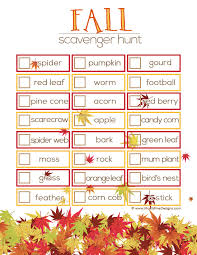 fall scavenger hunt ideas free printable thanksgiving and free