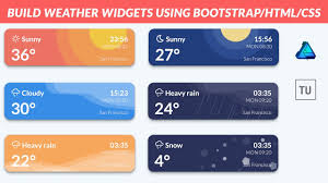 bootstrap design ui design build weather widgets using bootstrap html css and