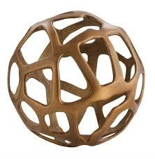ennis antique brass web sphere sculpture decor object 10 inch