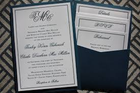 wedding invitation pockets formal navy white monogram border clutch pocket wedding