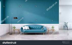 Living Room With Blue Sofa Minimalist Interior Living Room Blue Sofa Stock Illustration