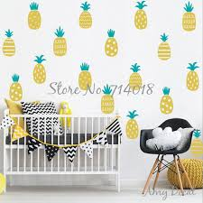 stickers chambre bébé ananas stickers muraux 2 couleur ananas stickers or ananas