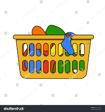 thin laundry hamper vector illustration laundry basket thin line stock vector