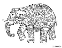 asian elephant decoration pencil and in color asian