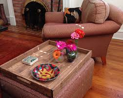 rustic wooden ottoman tray decorative tray coffee table