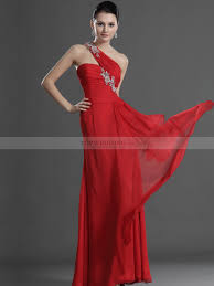 beading one shoulder fitted bodice flowing long chiffon prom dress