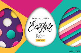 easter egg sale happy easter sale banner colorful easter eggs and 3d abstract