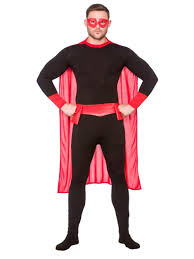mens black red super hero superhero fancy dress costume