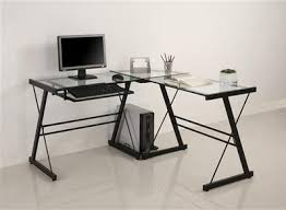 L Shaped Glass Desks Black Framed L Shaped Glass Desk With Keyboard Tray Officedesk