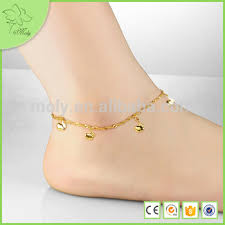 designs gold anklet with bells chain yiwu jewelry factory