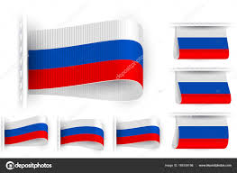 Flag Tag Flag Tag Clothes Label Sticker Sewn Set Russia U2014 Stock Vector