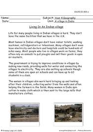 primaryleap co uk living in an indian village worksheet