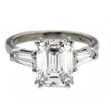 3 25 carat gia cert center emerald cut diamond platinum engagement