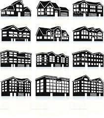 D Haus 3 D Haus Und Wohnungkomplex Schwarz Weißen Iconset Vektor