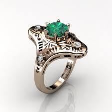 mexican art deco 14k rose gold 1 0 ct emerald diamond engagement