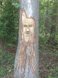 neighbor likes to carve faces into trees with chainsaws creepy