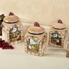 ceramic kitchen canisters sets tuscan view wine grapes kitchen canister set
