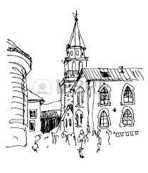 sketch drawing of the bell tower church top view in old town