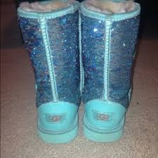 Light Blue Uggs 52 Off Ugg Boots Sparkle Ugg Boots Aqua From Ciara U0027s Closet