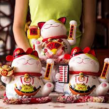 lucky cat ceramic ornaments waving large yard no items lucky