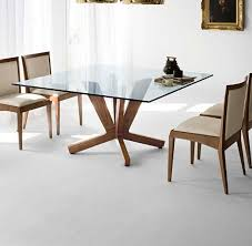 Wooden Base For Glass Dining Table Glass Top Dining Tables With Wood Base Ilashome