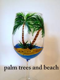 palm tree wine glass beach wine glass painted by brusheswithaview