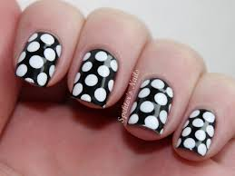 nail art cute white and black polka dotil design art designs for