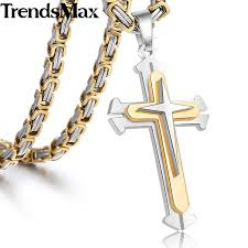 colored cross necklace images Trendsmax cross pendant men 39 s necklace stainless steel byzantine jpg