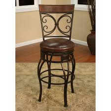 natural iron barstool with carved backrest and square brown