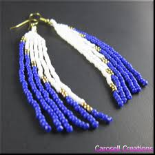Beaded Chandelier Etsy Native American Long Seed Bead Earrings Blue White By