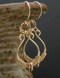 real gold earrings solid 14k gold wire wrapped earrings real gold earrings real
