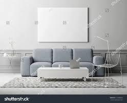 white poster living room scandinavian design stock illustration