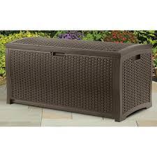 suncast dbw7300 mocha wicker resin deck box 73 gallon reviews