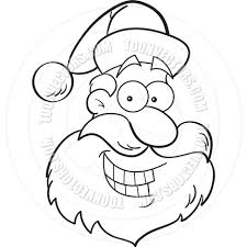 cartoon santa claus head black and white line art by kenbenner