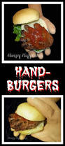 hand burgers hand shaped hamburgers creepy halloween recipe