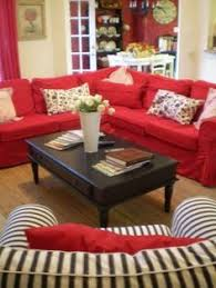 Living Room With Red Sofa by Red Sofa With Black And White Contrast Decor Pinterest