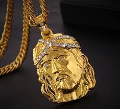 gold jesus pendant necklace images Wholesale gold crystal jesus pendant neckalce cool punk hiphop hip jpg