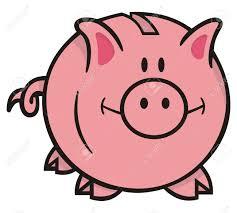 smiling pink piggy bank cartoon illustration on white background